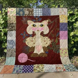 Cat With Pink Wool Quilt Blanket Great Customized Gifts For Birthday Christmas Thanksgiving Perfect Gifts For Cat Lover