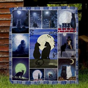 Black Cat Couple Under The Moon Quilt Blanket Great Customized Gifts For Birthday Christmas Thanksgiving Perfect Gifts For Cat Lover