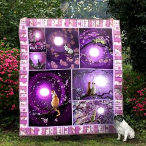 Ll – Cat And Cherry Blossom Quilt Blanket Ver 13