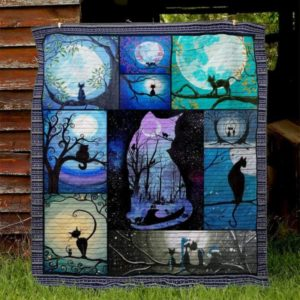 Cat Shadow And Moon Quilt Blanket Great Customized Gifts For Birthday Christmas Thanksgiving Perfect Gifts For Cat Lover