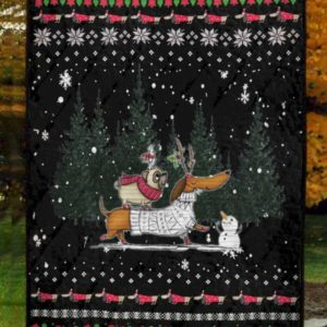 Dachshund And Pug Christmas Quilt Blanket Great Customized Blanket Gifts For Birthday Christmas Thanksgiving