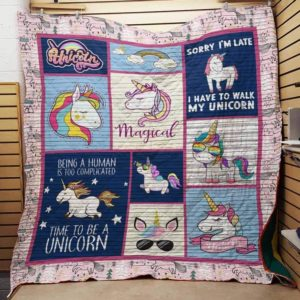 Unicorn I Have To Walk My Unicorn Quilt Blanket Great Customized Gifts For Birthday Christmas Thanksgiving Perfect Gifts For Unicorn Lover