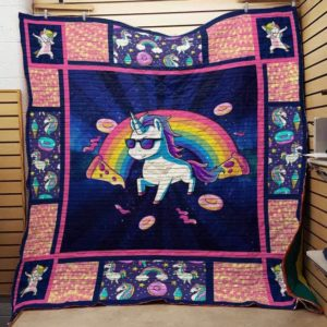 Unicorn Rainbow Donuts Pizza Quilt Blanket Great Customized Gifts For Birthday Christmas Thanksgiving Perfect Gifts For Unicorn Lover