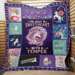 Adorable Unicorn I'm Just A Sweetheart With A Temper Quilt Blanket Great Customized Gifts For Birthday Christmas Thanksgiving Perfect Gifts For Unicorn Lover