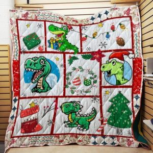 Dinosaur T-Rex Love Christmas Quilt Blanket Great Customized Gifts For Birthday Christmas Thanksgiving Perfect Gifts For Dinosaur Lover