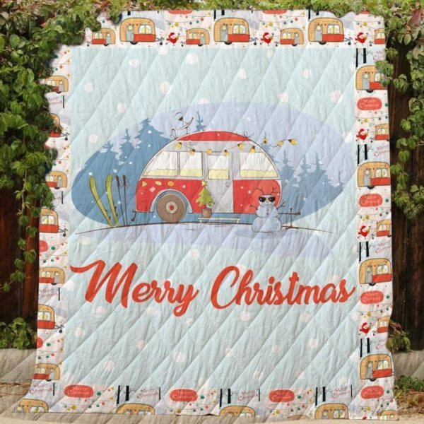 Merry Christmas Theme Camping In Snow Land Quilt Blanket Great Customized Blanket Gifts For Birthday Christmas Thanksgiving