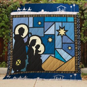 Shadow Christmas Begins With Christ Quilt Blanket Great Customized Blanket Gifts For Birthday Christmas Thanksgiving