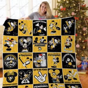 Pittsburgh Penguins Mickey Mouse Quilt Blanket Great Customized Blanket Gifts For Birthday Christmas Thanksgiving