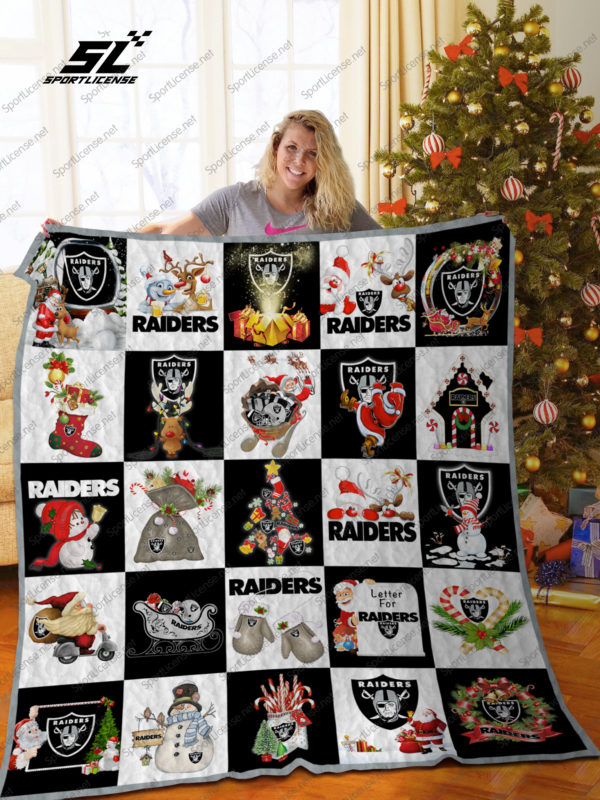 Las Vegas Raiders Christmas Quilt Blanket Great Customized Blanket Gifts For Birthday Christmas Thanksgiving