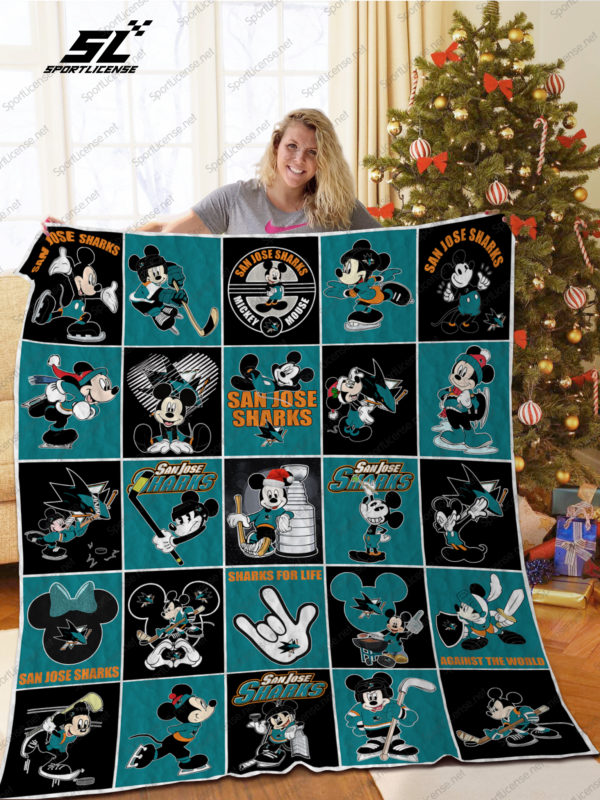 San Jose Sharks Mickey Mouse Quilt Blanket Great Customized Blanket Gifts For Birthday Christmas Thanksgiving