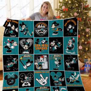 H – San Jose Sharks+Mickey Quilt Blanket