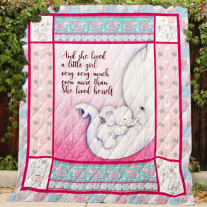 Elephant Mom And Baby And She Loved A Little Girl Pink Quilt Blanket Great Customized Gifts For Birthday Christmas Thanksgiving Perfect Gifts For Elephant Lover