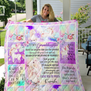 Personalized Unicorn To My Grandaughter From Grandparents Never Stop Believing In Yourself Quilt Blanket Great Customized Gifts For Birthday Christmas Thanksgiving Perfect Gifts For Unicorn Lover