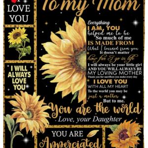 Sunflower To My Mom Quilt Blanket