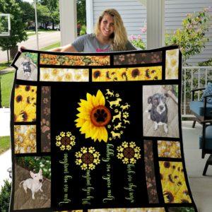 Sunflower And Dogs Custom Quilt Blanket