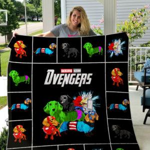 Dachshund Avengers Quilt Blanket