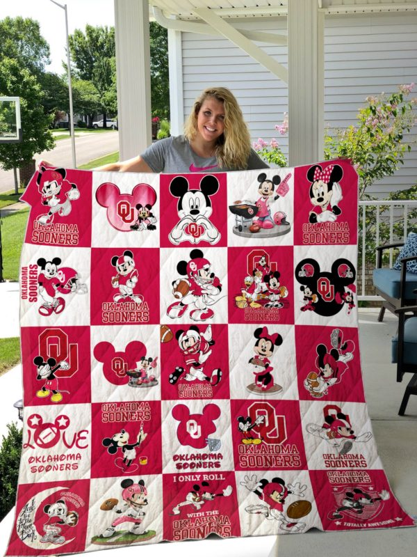 Oklahoma Sooner Mickey Quilt Blanket Quilt Blanket Great Customized Gifts For Birthday Christmas Thanksgiving Perfect Gifts For Mickey Lover