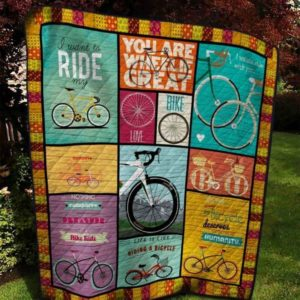 Cycling Life Is Like Riding A Bicycle Quilt Blanket Great Customized Blanket Gifts For Birthday Christmas Thanksgiving
