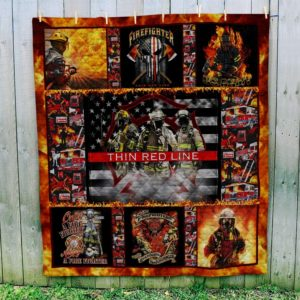 Firefighter Thin Red Line Quilt Blanket Great Customized Blanket Gifts For Birthday Christmas Thanksgiving