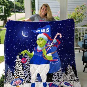 Buffalo Bills Grinch Santa Quilt Blanket