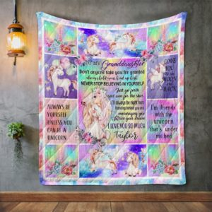 Personalized Unicorn To My Granddaughter From Grandma Always Hold Your Head Up High Quilt Blanket Great Customized Gifts For Birthday Christmas Thanksgiving Perfect Gifts For Unicorn Lover
