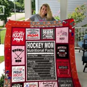 Hockey Mom Nutritional Facts Quilt Blanket Great Customized Blanket Gifts For Birthday Christmas Thanksgiving