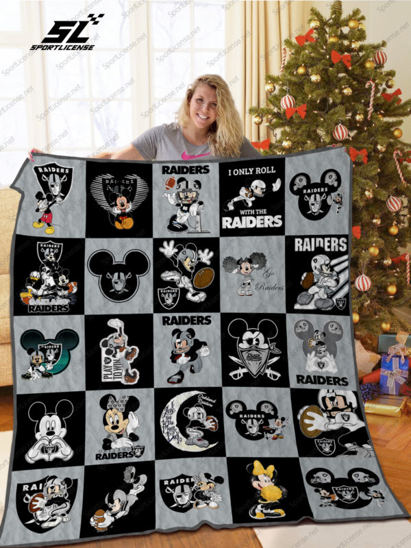 Oakland Raiders Mickey Mouse Quilt Blanket