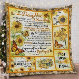 Personalized Butterfly Sunflower To My Daughter Quilt Blanket From Mom I Love You To The Moon And Back Great Customized Blanket Gifts For Birthday Christmas Thanksgiving
