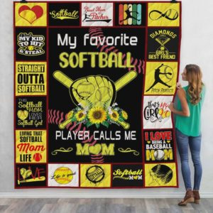 My Favorite Softball Player Calls Me Mom Quilt Blanket Great Customized Blanket Gifts For Birthday Christmas Thanksgiving