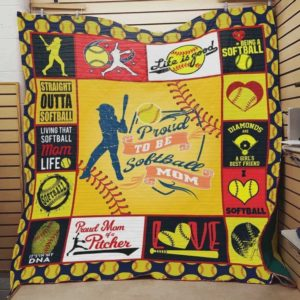 Proud To Be Softball Mom Quilt Blanket Great Customized Blanket Gifts For Birthday Christmas Thanksgiving Mother's Day