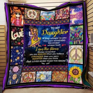 Personalized Hippie To My Daughter From Mom If They Whisper To You Quilt Blanket Great Customized Gifts For Birthday Christmas Thanksgiving