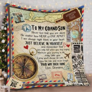 Personalized To My Grandson Quilt Blanket From Grandma Never Feel That You Are Alone Great Customized Blanket Gifts For Birthday Christmas Thanksgiving