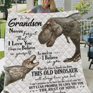 Personalized Dinosaur To My Grandson Quilt Blanket From Grandma Never Forget That I Love You Great Customized Blanket Gifts For Birthday Christmas Thanksgiving