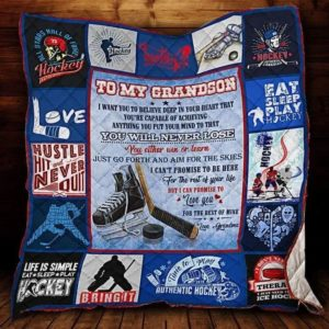 Personalized Ice Hockey To My Grandson Quilt Blanket From Grandma I Can Promise To Love You For The Rest Of Mine Great Customized Blanket Gifts For Birthday Christmas Thanksgiving