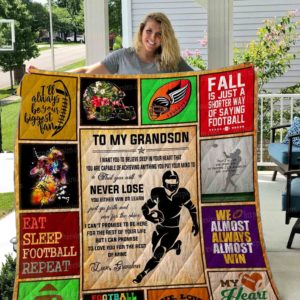 Personalized Football To My Grandson Quilt Blanket From Grandma I'll Always Your Biggest Fan Great Customized Blanket Gifts For Birthday Christmas Thanksgiving