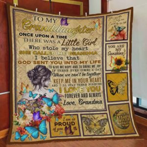 Personalized Butterfly To My Granddaughter Quilt Blanket From Grandma I Am So Proud Of You Great Customized Blanket Gifts For Birthday Christmas Thanksgiving