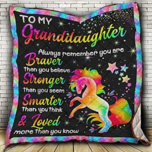 Personalized Unicorn To My Granddaughter Quilt Blanket Always Remember You Are Braver Than You Believe Great Customized Blanket Gifts For Birthday Christmas Thanksgiving