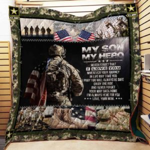 Personalized Military To My Son From Mom Never Forget That I Love You Quilt Blanket Great Customized Gifts For Birthday Christmas Thanksgiving