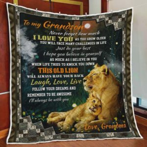 Personalized Lion To My Grandson Quilt Blanket From Grandma Never Forget How Much I Love You Great Customized Blanket Gifts For Birthday Christmas Thanksgiving
