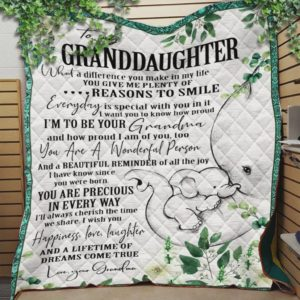 Personalized Elephant To My Granddaughter Quilt Blanket From Grandma You Are A Wonderful Person Great Customized Blanket Gifts For Birthday Christmas Thanksgiving