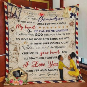 Personalized Black Boy To My Grandson Quilt Blanket From Grandma I Love You Forever And Always Great Customized Blanket Gifts For Birthday Christmas Thanksgiving