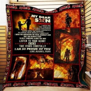 Personalized Firefighter To My Son Quilt Blanket From Mom I Am So Proud Of You Great Customized Blanket Gifts For Birthday Christmas Thanksgiving