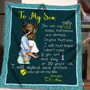 Personalized To My Son Quilt Blanket From Mom I Will Defend And Protect You All Of My Life Great Customized Blanket Gifts For Birthday Christmas Thanksgiving