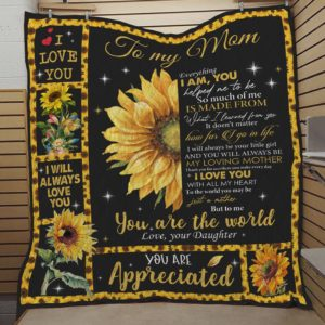 Personalized Sunflower To My Mom Quilt Blanket From Daughter I Will Always Love You Great Customized Blanket Gifts For Birthday Christmas Thanksgiving Mother's Day