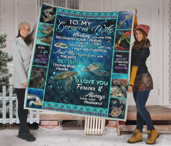 Personalized Turtle To My Gorgeous Wife Quilt Blanket From Husband I Love You Forever And Always Great Customized Blanket Gifts For Birthday Christmas Thanksgiving