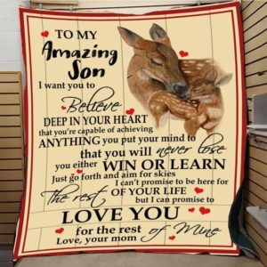 Personalized Deer To My Son Quilt Blanket From Mom I Can Promise To Love You For The Rest Of Mine Great Customized Blanket Gifts For Birthday Christmas Thanksgiving