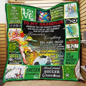 Personalized Soccer To My Grandson From Grandma Whenever You Find Yourself Quilt Blanket Great Customized Gifts For Birthday Christmas Thanksgiving