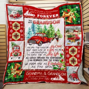 Personalized Red Truck Christmas To My Grandson From Grandma You Are The Child Of My Child Quilt Blanket Great Customized Gifts For Birthday Christmas Thanksgiving