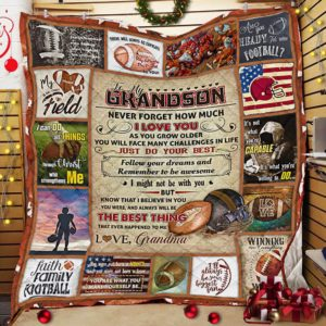 Personalized American Football To My Grandson From Grandma Never Forget How Much I Love You Quilt Blanket Great Customized Gifts For Birthday Christmas Thanksgiving