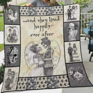Skull Husband And Wife And They Lived Happily Ever After Quilt Blanket Great Customized Blanket Gifts For Birthday Christmas Thanksgiving